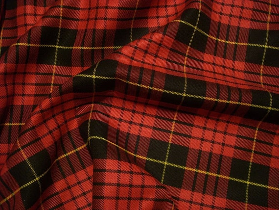 2 REMNANTS--Red and Black with Yellow Plaid Polyester Blend Suiting Fabric--1.5 Yards Total