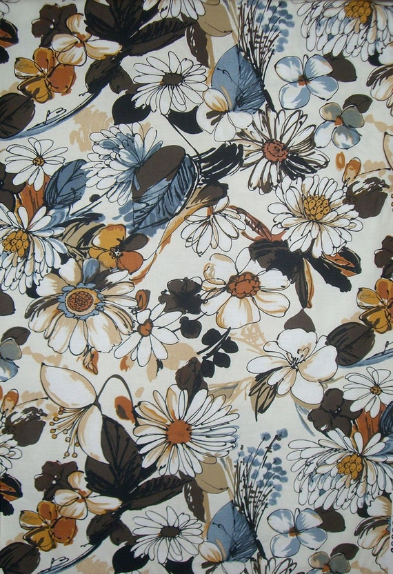 Natural and Blue Quint Floral Print Pure Cotton Fabric from Dear Stella--One Yard