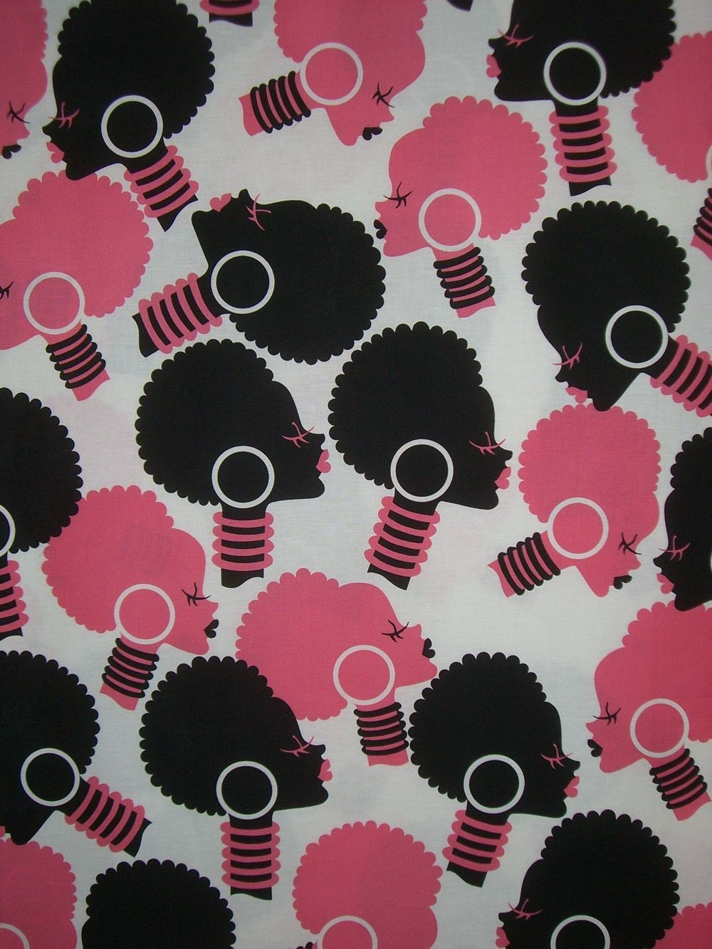 Elegant Afro Women Silhouette Print Fabric In Pink And