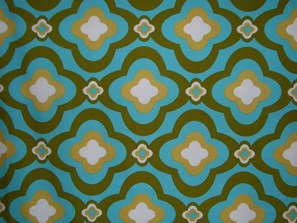 Remnantmod cotton print fabric in aqua and avocado3 4 yard for Printed cotton fabric