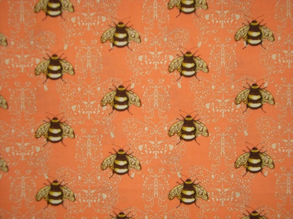 Peach Bumble Bee Print Cotton Fabricone By Fabricsandtrimmings