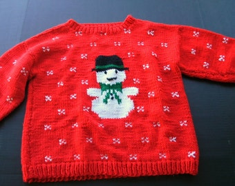 Child's Holiday Hand Knit Sweater
