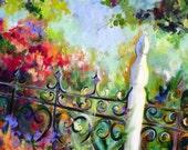 Wrought Iron Floral Landscape Original Painting palette knife 24 x 30 Fine Art by Elaine Cory