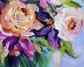 Peach and Purple Floral Original Painting pallette knife 12 x 16 Fine Art by Elaine Cory