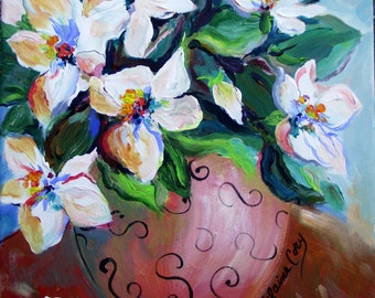 Magnolias Original Painting canvas art wall decor gift for her  12 x 12 Fine Art by elaine Cory