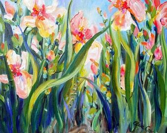 IRIS Landscape Original Painting Palette Knife   20 x 24 Fine Art by Elaine Cory