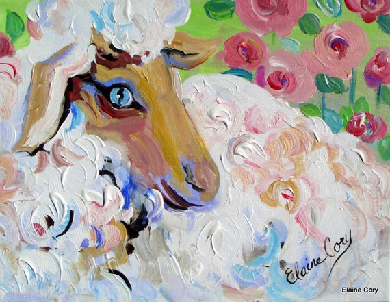 Sheep Painting ( Reserved for Susan ) 12 x 16  Original oil Painting by Elaine Cory