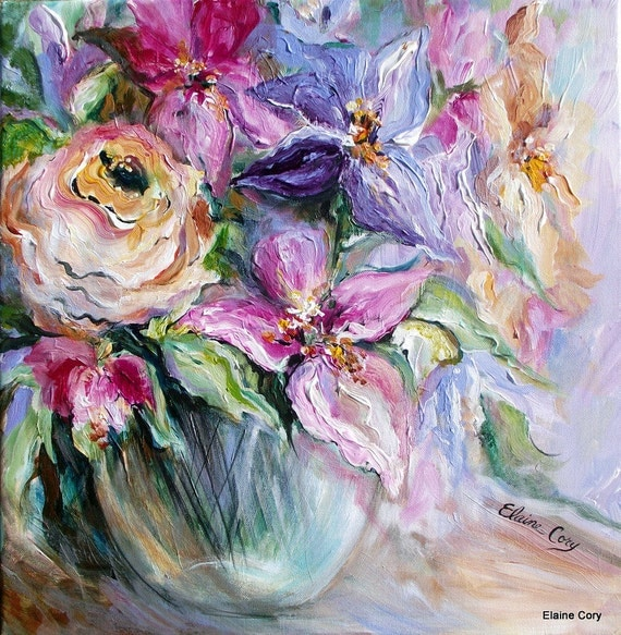 Pastel Floral ( Reserved for Tami ) Original Painting oil acrylic  20 x 20 palette knife Art by Elaine Cory