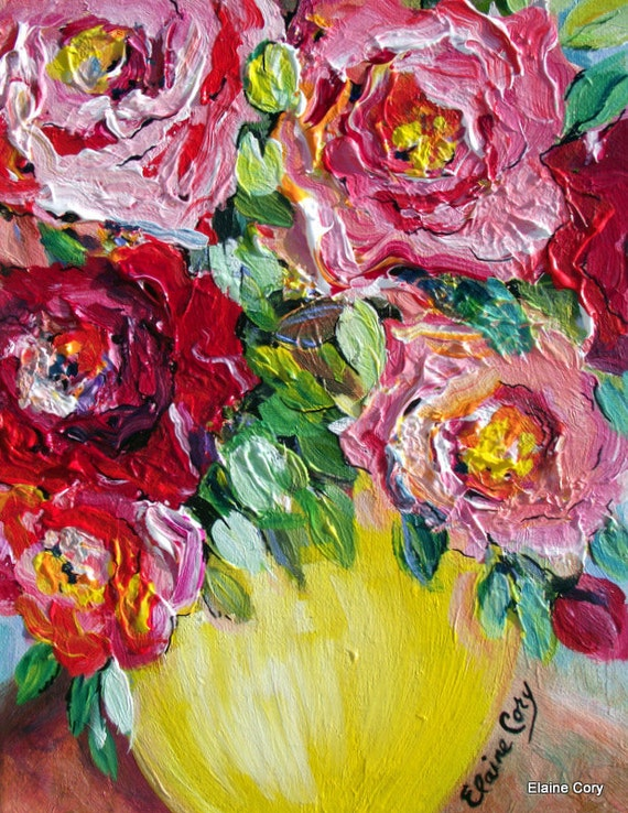 RED ROSES Original art  Floral Original painting palette knife 11 x 14  By Elaine Cory
