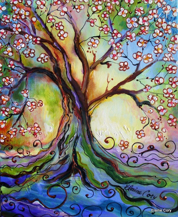 Japanese Plum Tree 14 x 18 Original Painting textural Modern Impressionist Original art by Elaine Cory