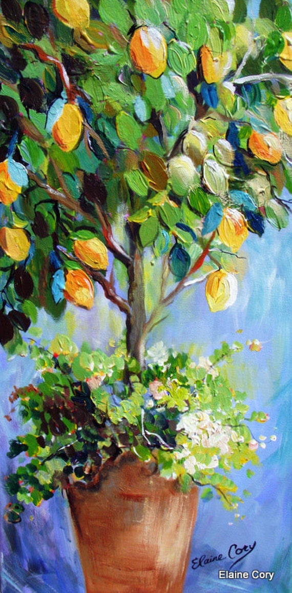 Lemon Tree Original Painting Palette knife 12 x 24  Fine Art by Elaine Cory