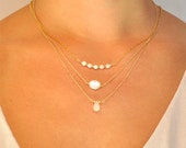 White Freshwater Oval Pearl Karlie Necklace