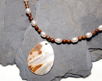 Freshwater Pearl and Wood Necklace - Mother of Pearl Pendant