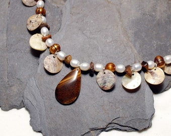 Bengal Necklace - Tigereye and Freshwater Pearl with MOP Discs