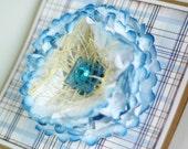 SALE Big Blossom Handmade Card, Blue, White and Kraft (No. 2)