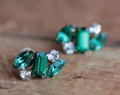 Vintage Emerald Green and Gold Earrings, Clip On, Screw On May Birthstone Bridal Bridal Wedding