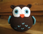 Mr. Hoots - Brown and Turquoise Owl - Ready to Ship -