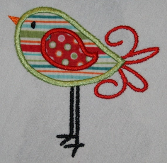 Bird Applique Design in 4x4 and 5x7 INSTANT DOWNLOAD now available