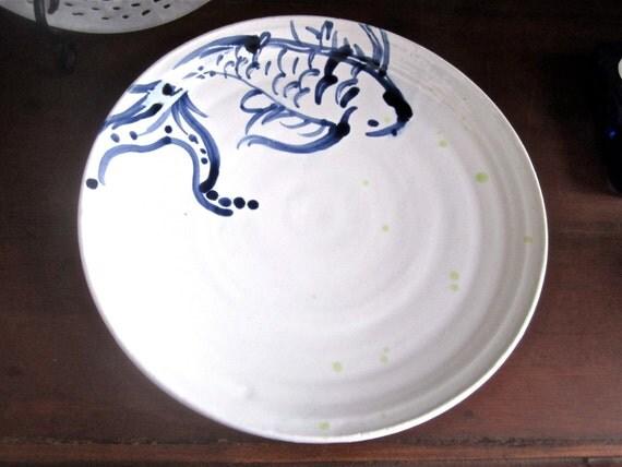 White and Indigo Blue Koi Fish Plate, handmade pottery