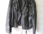 SALE: Black Leather Motorcycle Jacket --Authentic Distressed and Tattered