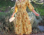 Classic 1950's Dress in Autumn Colors for Fall