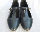 Vintage Navy Blue T-strap Shoes for Dancing Size 10