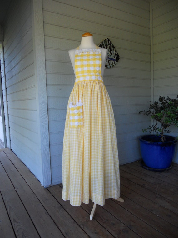 Long Yellow And White Gingham Prairie Style Apron
