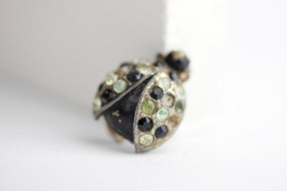 Vintage Ladybug Pin Rhinestone Brooch - needs TLC