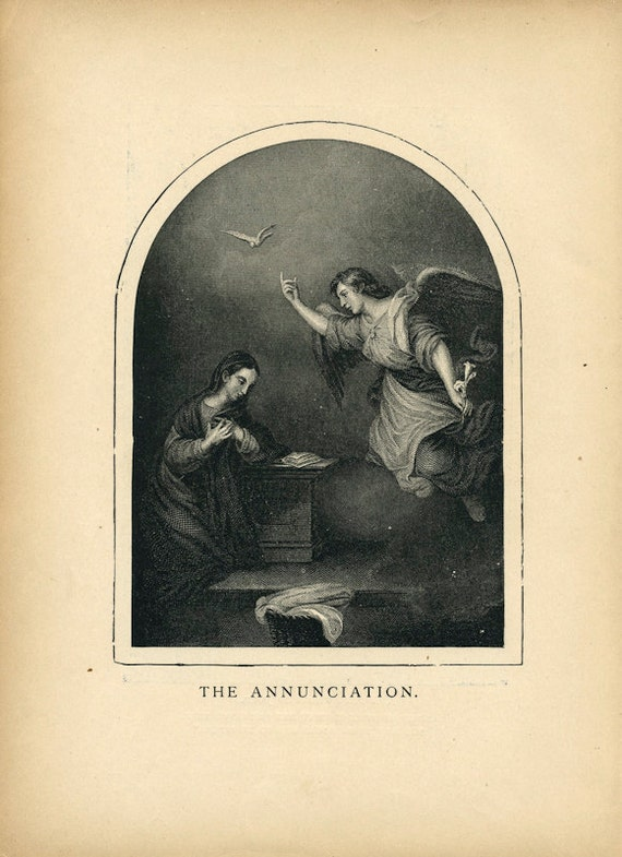 1898 Vintage Religious Illustration - The Annunciation