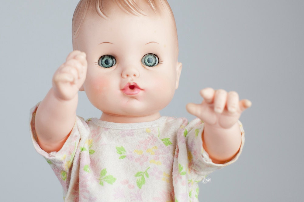 1970s Or 1980s Effanbee Baby Doll With Blue Sleeping Eyes