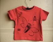 Red Kids Tee Shirt with Cicada