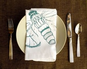White Cotton Napkins with Teal Moth