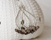 Tear Drop Earrings with Smoky Quartz and Argentium Sterling Silver Brown Grey Coffee Mocha Gemstone Cluster - Priscilla