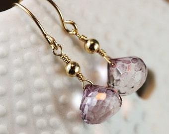 Mystic Pink Quartz Onion Gold Filled Earrings - Nadia