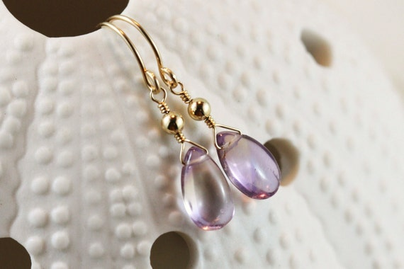 Simple Ametrine Earrings 14k Gold Filled Smooth Pear Briolette Bridemaids Yellow Purple Lilac - Nadia