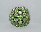 Green Rhinestone Domed Vintage Brooch Pin