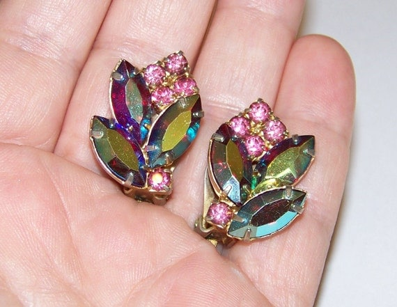 40s Vintage Cobalt Carnival Glass Pink Rhinestone Clip Earrings