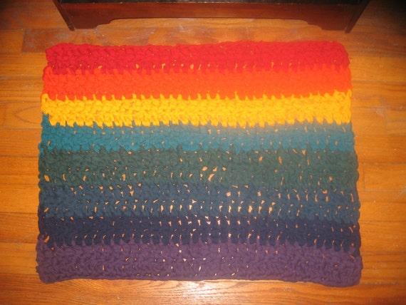 Handmade Rainbow Rag Rug Recycled T Shirts Upcycled Crochet