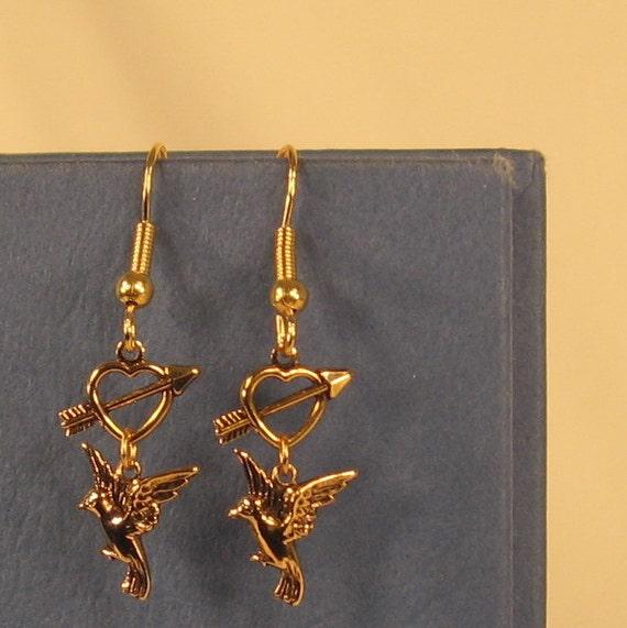 Hunger Games Mockingjay Heart Arrow pierced earring SURPRISE listing FREE Shipping