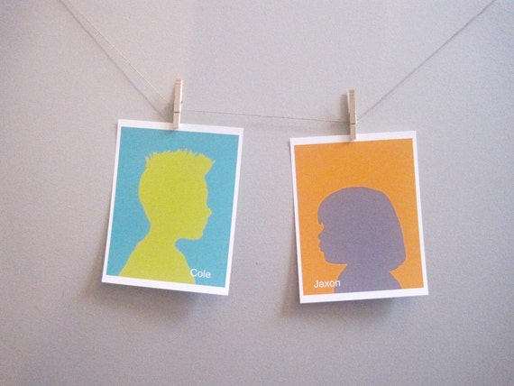 Custom Silhouette - Childrens Art Print Poster, custom gift, silhouette, portrait, orange, turquoise, yellow, modern, (2) 8x8 print,  neon