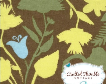 Brown Aqua Flowers (18063-18) - Sugar Pop by Liz Scott - Moda- 1 Yard