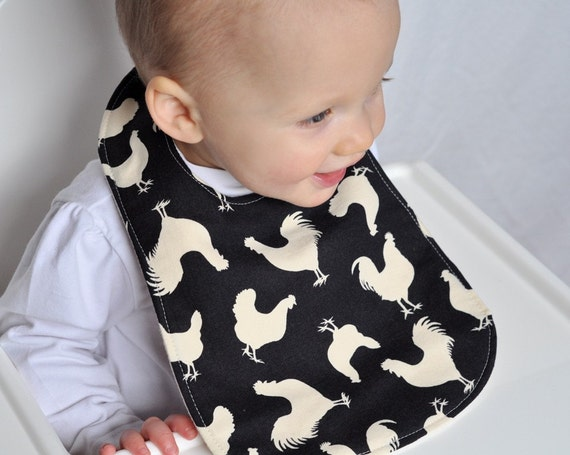 Rooster Baby Bib made with Organic Flannel