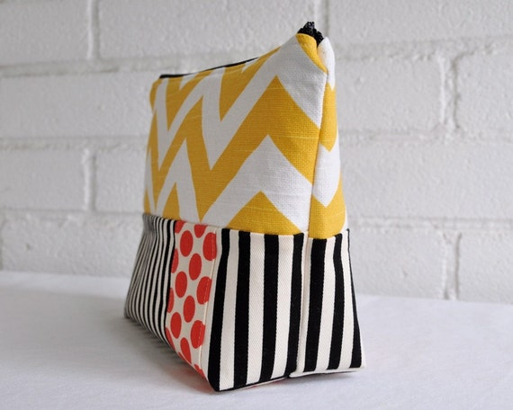 Cosmetic Bag Yellow with Black and White Stripes