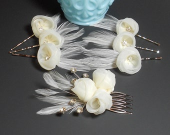 Fascinator, Wedding Head Piece, Feather Hair Clip,Great Gatsby Style,Bridal Comb, Bridal Hair Accessory,Ivory Hair Clip, Feather Hair Clip