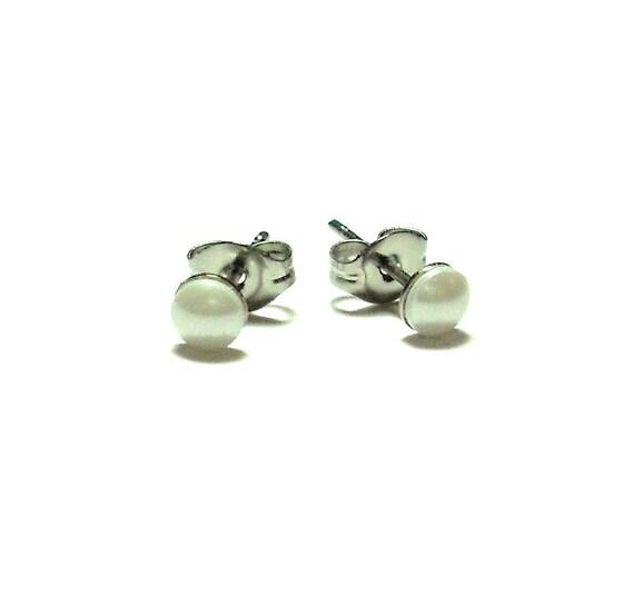 White Swarovski Pearl Earrings, Stud Earrings, White Studs, Tiny Studs, Small Crystal Studs