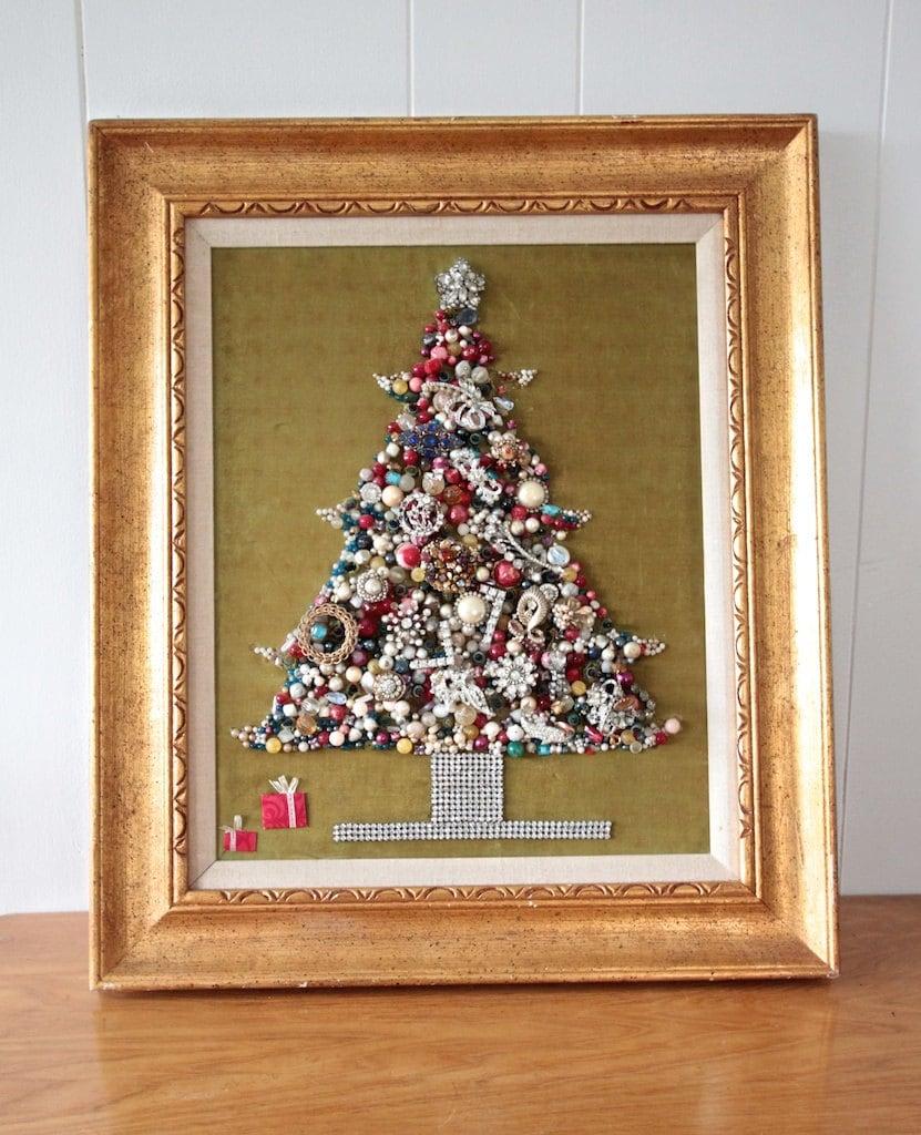 Framed Vintage Jewelry Christmas Tree