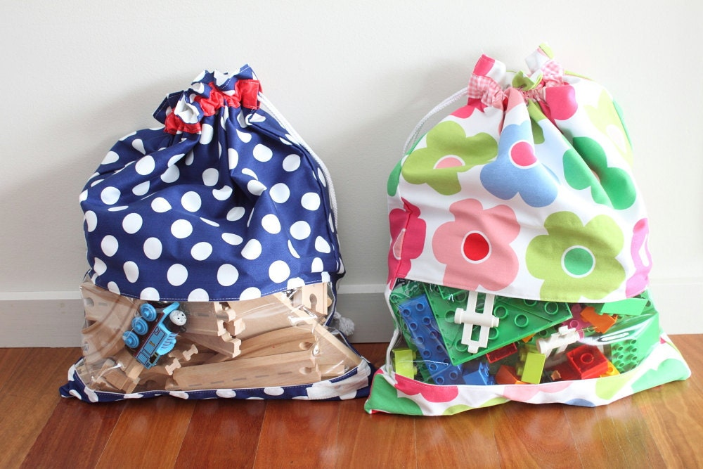 Drawstring Toy Bag / Sack with window Toy storage for girls