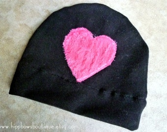 Black Jersey Knit Hat with Heart Applique