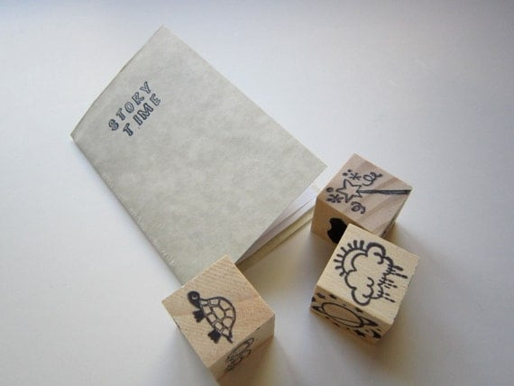 Story Telling Game- Wooden Dice Set- Storytelling Prompt- Educational Toy- Natural Creative Play- Great for Travel