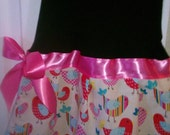 Toddler Dress with momma and baby birds sized 3T to 5 T